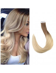 "Full Shine 14"" 20 Pcs 50 Gram Per Package Color #6 And Color #613 Blonde Ombre Human Hair Extensions of Tape in Hair Extensions Human Hair"