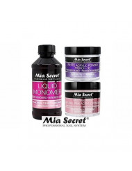 MIA SECRET 4 oz LIQUID MONOMER + Acrylic Powder 2 oz White & Multibalance (Natural Pink) -Made in USA