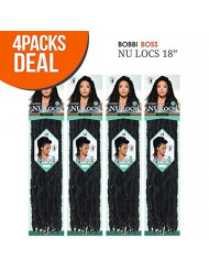 "Bobbi Boss Synthetic Hair Crochet Braids African Roots Braid Collection Nu Locs 18"" (4-PACK, 1B)"