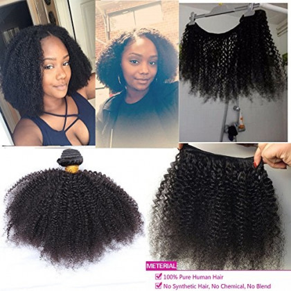 """12"""" Mongolian Afro Kinky Curly Hair Extensions 100gram 1 bundle 4B 4C Afro Kinky Curly Virgin Human Hair weave Natural Black For African American Black Women ¡"""