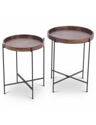 Steve Silver Capri 2 Piece Round Accent Table Set in Weathered Brown