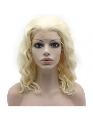 Mxangel Shoulder Length Synthetic Lace Front Light Blonde Natural Stylish Wavy Wig