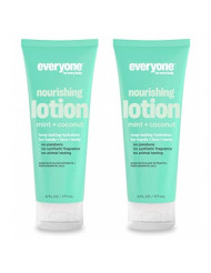 Everyone 3-in-1 Mint and Coconut Lotion Plant Based Nourishing Moisture with Vitamin E, Coconut Oil and Peppermint Oil, 6 fl. oz. (Pack of 2)