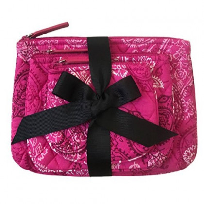 Vera Bradley Cosmetic Trio in Stamped Paisley (with Solid Color Lining)