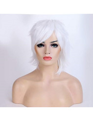 Short Fluffy Anime Wig For Women and Men Unisex Halloween Costume Wig white + One elastic wig net for free