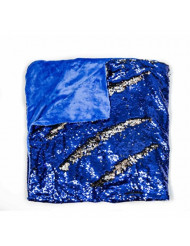 "Kovot Sequin Mermaid Style Throw Blanket 50"" x 60"" - Reversible Color Sequins to Change The Look and Design (Blue/Silver)"