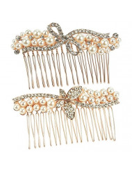 2-Pack Bridal Comb Set - Decorative Rhinestone Hair Accessories for Bridesmaids, Engagement Parties, Bridal Showers, Rose Gold - 3.25 x 0.5 x 2 Inches