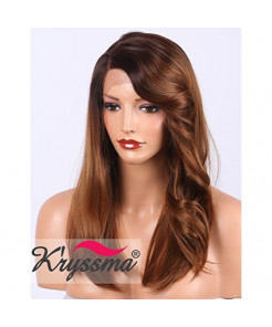 K'ryssma L-Part YLKM01 Ombre Brown Lace Front Wig with Wavy Bangs, Realistic Looking Side Deep Parting Synthetic Wigs for Women Medium Length Natural Straight Hair Wigs 18 inch