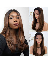 K'ryssma Brown Ombre Lace Front Wig with Dark Roots Medium Length 18 inch Natural Straight Glueless Synthetic Wigs for Women Half Hand Tied Hair Replacement Full Wig (KMLM19)
