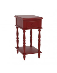 Urbanest Adams Accent End Table with Drawer, 27-inch Tall, Red