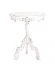 Vintage Style Accent Table, Wooden Rococo Style Round White Accent Table