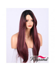 K'ryssma Ombre Burgundy Synthetic Wig with Bangs, Long Natural Straight Black Roots to 99j Deep Wine Red Ombre Wigs for Women Side Parting Machine Made Hair Wig 20 inches (KM23)