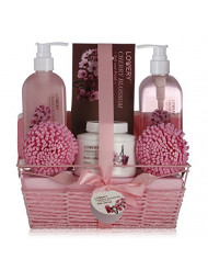 Spa Gift Basket in Cherry Blossom Scent - 8 Piece Luxury Bath Set for Women & Men, Includes Shower Gel, Bubble Bath, Bath Salt, Lotion & More! Great Wedding, Anniversary or Graduation Gift for Women