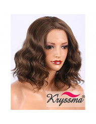 K'ryssma Short Bob Lace Front Wigs for Women, Natural Looking Glueless Short Wavy Brown Synthetic Wig Half Hand Tied Replacement Full Hair Wigs 12 inches