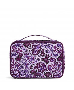 Vera Bradley Women's Signature Cotton Large Blush & Brush Cosmetic Makeup Case, Lilac Paisley, One Size