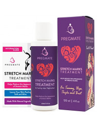 PREGMATE Stretch Mark Treatment Cream with Natural Ingredients Peptides Vitamin C Hyaluronic Acid (4 fl oz / 120 ml)