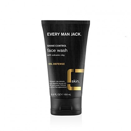 Every Man Jack Volcanic Clay Face Wash, Oil Defense, Fragrance Free, 5-ounce