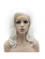 Mxangel Shoulder Length Wavy White Lace Front Costume Party Wig