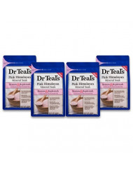 Dr Teal's Epsom Salt Soaking Solution, Restore & Replenish, Pink Himalayan Mineral Soak, 4 Count - 3lb Bags, 12lbs Total