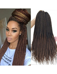 Flyteng 18 inch 8 Packs Senegalese Twist Crochet Braids Hair 30strands/pack High Tempreture Fiber Synthetic Hair Extensions T1B/30...