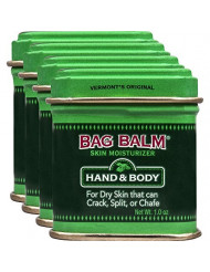 Vermont's Original Bag Balm Ointment, 1 Ounce Tin (Pack of 4), Moisturizing Ointment for Dry Skin That can Crack Split or Chafe on Hands Feet Elbows Knees Shoulders and More