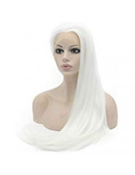 Mxangel Long White Synthetic Hair Fiber Natural Wigs Long Straight Lace Front Wig