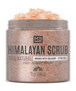 M3 Naturals Himalayan Salt Scrub Infused with Collagen and Stem Cell All Natural Exfoliating Body and Face for Acne Cellulite Dead Skin Scars Wrinkles Cleansing Exfoliator 12 oz