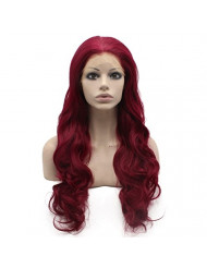 Mxangel Long Wavy Reddish Swiss Lace Front Synthetic Hair Wig Heat Resistant