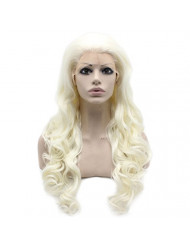 Mxangel Long Wavy Synthetic Lace Front Silver White Wig Heat Resistant