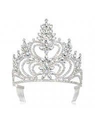 """DcZeRong 5"""" Tall Large Tiara Adult Women Birthday Pageant Prom Queen Silver Crystal Rhinestone Crown"""