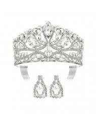 DcZeRong Princess Queen Tiara Crowns Rhinestone Crystal Adult Women Birthday Pageant Prom Silver Crown