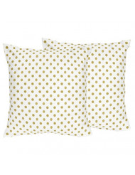 Sweet Jojo Designs 2-Piece Gold and White Polka Dot Girls Decorative Accent Throw Pillow for Amelia Bedding Collection