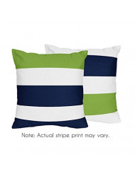 Sweet Jojo Designs 2-Piece Navy Blue, Lime Green and White Decorative Accent Throw Pillows for Stripe Collection
