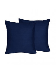 Sweet Jojo Designs 2-Piece Solid Navy Blue Decorative Accent Throw Pillows for Navy and Lime Stripe Collection