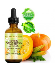 SUPREME ORGANIC PUMPKIN SEED OIL .100% Pure / EXTRA VIRGIN / UNREFINED / Natural / Undiluted Cold Pressed Carrier Oil for Skin, Hair, Lip and Nail Care. 2 Fl.oz.- 60 ml. Botanical Beauty
