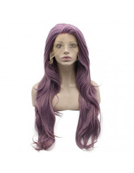 Mxangel Long Wavy Natural Synthetic Lace Front Purple Wig Heat Resistant