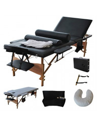 "3 Fold 84""L Portable Massage Table Facial Bed W/2 Bolster+Sheet+Cradle Cover"