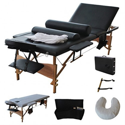 """3 Fold 84""""L Portable Massage Table Facial Bed W/2 Bolster+Sheet+Cradle Cover"""