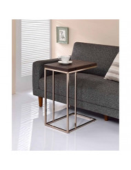 Snack Table with Expandable Rotating Top Chestnut Finish