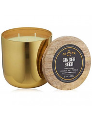Olivina Men Soy Wax Candle, Brass, Ginger Beer, 12-Ounce