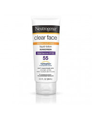 Neutrogena Clear Face Break-Out Free Liquid-Lotion Sunscreen SPF 55 - 3 oz, Pack of 3