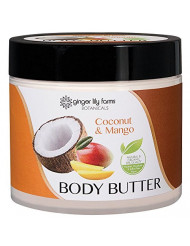 Ginger Lily Farms Botanicals Body Butter Coconut & Mango, Hydrates, Softens and Heals Skin, 15.5 Ounces