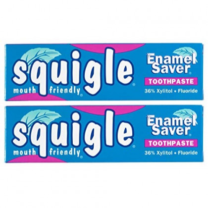 Squigle Enamel Saver Toothpaste, Canker Sore Treatment. Helps Prevent Cavities, Plaque, Tartar, Perioral Dermatitis, Chapped Lips, Bad Breath - 2 Pack