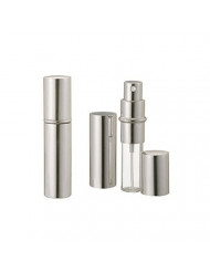 Silver Metallic Perfume Atomizer Spray 10 ML for purse or travel Refillable (with minor cosmetic blemishes on the metal casing)