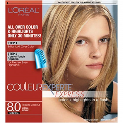 L'Oreal Paris Couleur Experte 2-Step Home Hair Color & Highlights Kit, Toasted Coconut