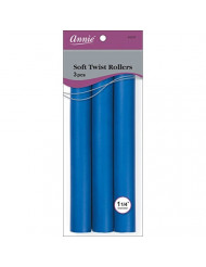 Annie Soft Twist Rollers, Blue, 3 Count