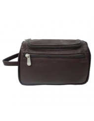 Piel Leather U-Zip Toiletry Kit, Chocolate, One Size