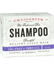 J.R.LIGGETT'S All Natural Shampoo Bar, Tea Tree and Hemp Oil Formula, Strong and Healthy Hair, Nourish Follicles with Antioxidants and Vitamins, Detergent and Sulfate-Free, Set of Three, 3.5 Ounce Bars