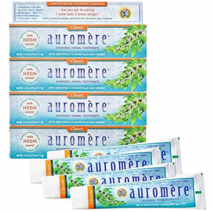 Auromere Ayurvedic Herbal Toothpaste, Classic Licorice Flavour - Vegan, Natural, Non GMO, Fluoride Free, Gluten Free, with Neem & Peelu (4.16 oz), 4 Pack