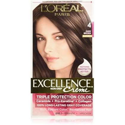 L'Oreal Excellence Triple Protection Color Creme, Dark Brown/Natural 4 (Pack of 3)